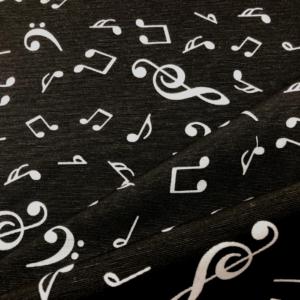 Decoratiestof muzieknoten print zwart