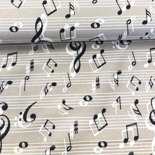 Decoratiestof muzieknoten print licht