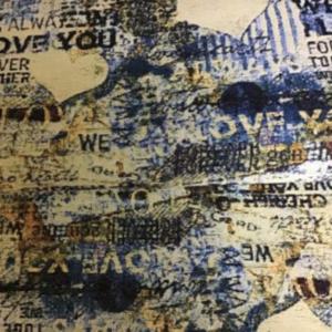 Gobelin meubelstof geschreven print