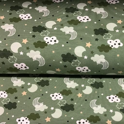 polyester tricot wolkjes print