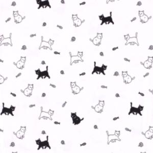 Tricot katten vissen print