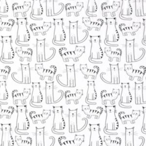 Tricot stof katten print