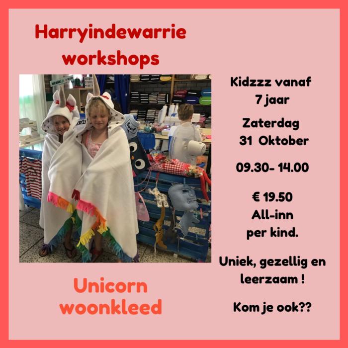 workshop kinderen unicorn woonkleed