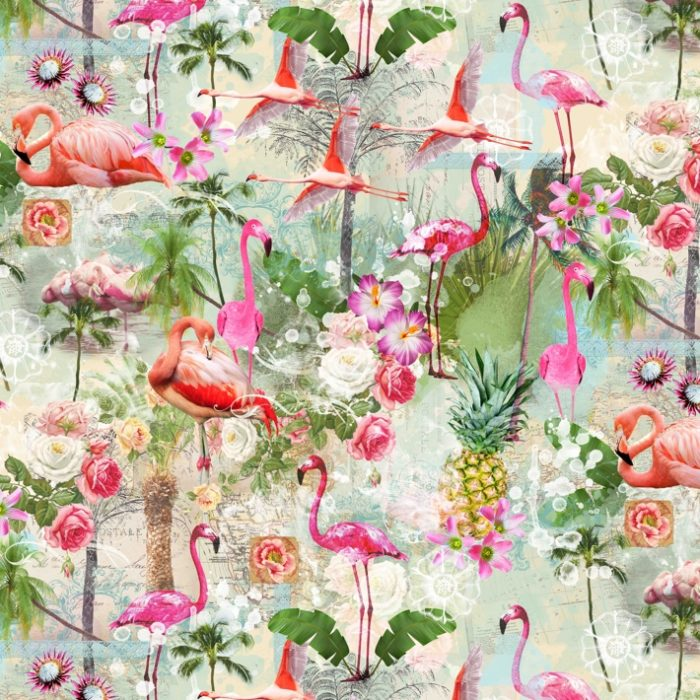 Katoen digitaal bedrukt flamingo