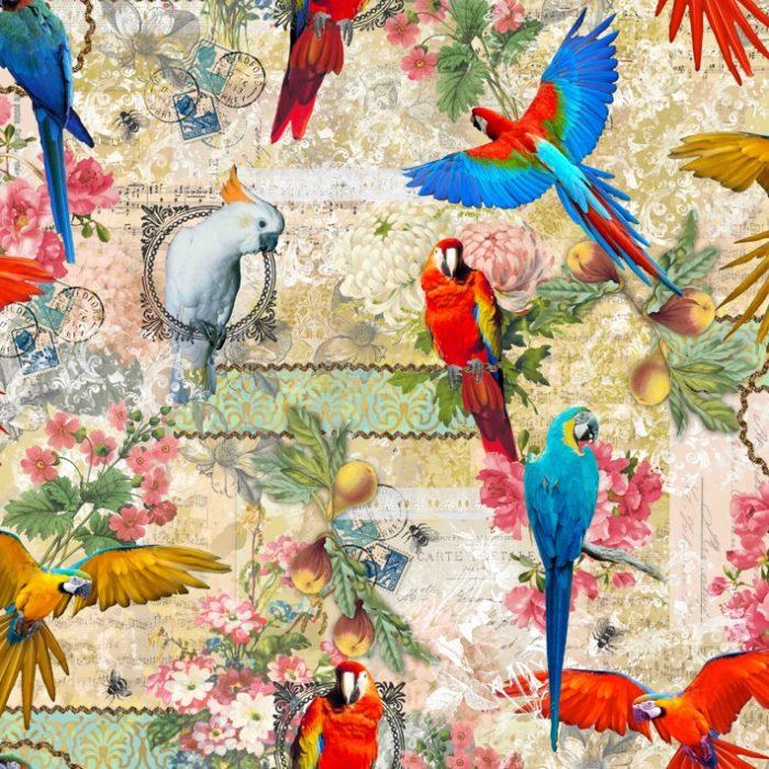 Katoen digitaal bedrukt papegaaien