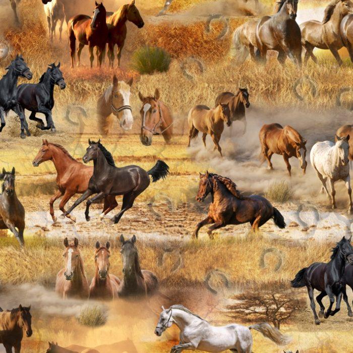 Digitale katoen print paarden