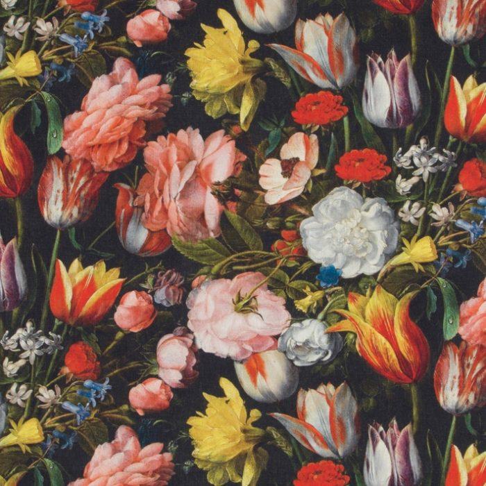 Digitale bloemen stof bedrukt
