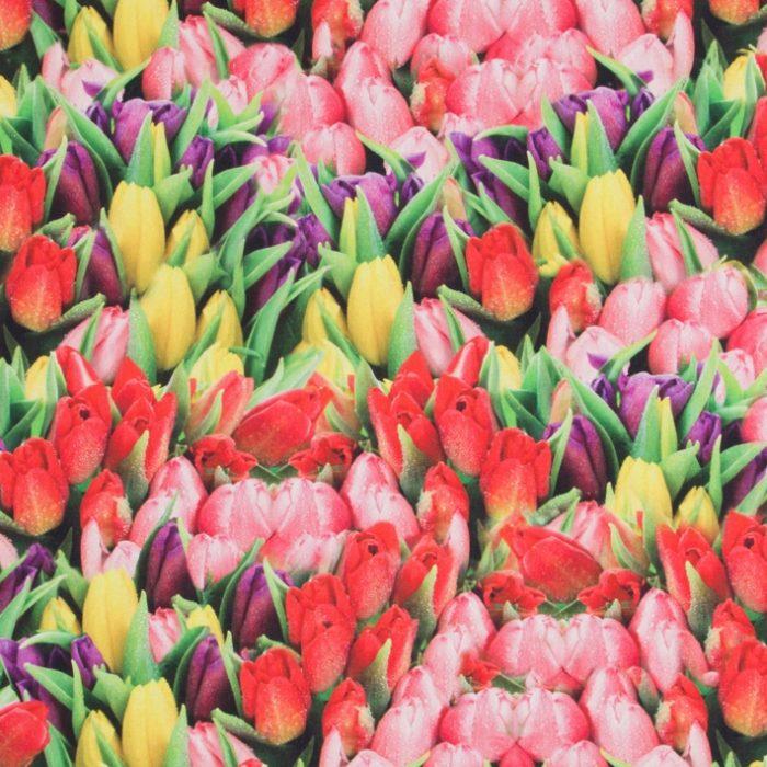 Digitale print katoen tulpen