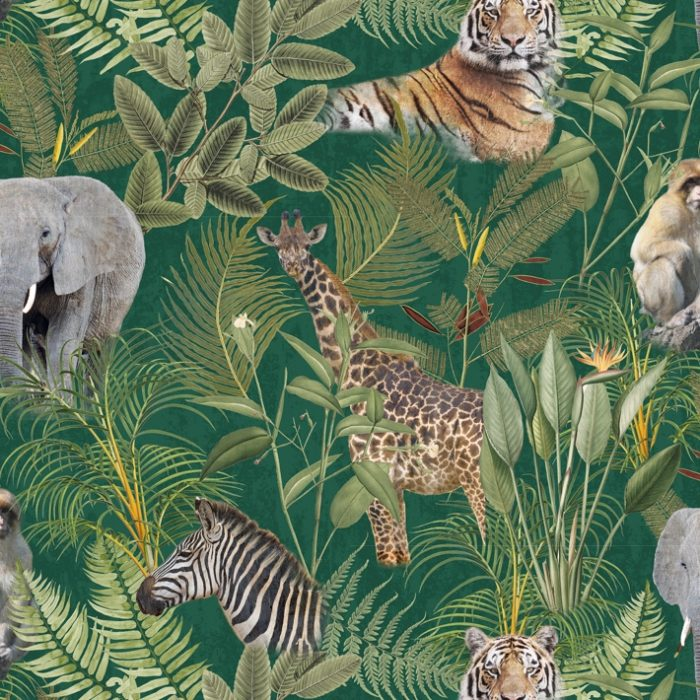 Digitale print jungle stof