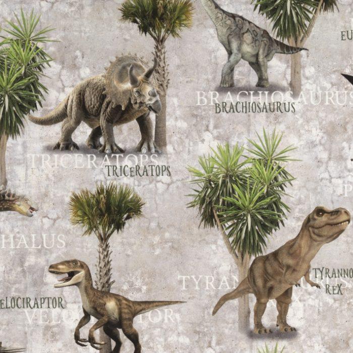 Katoen digitale print dinosaurussen