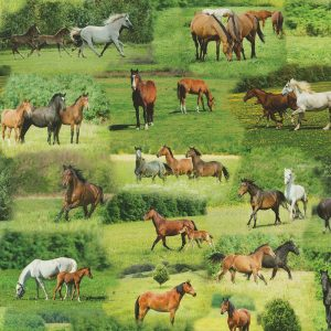 Digitale print paarden stof