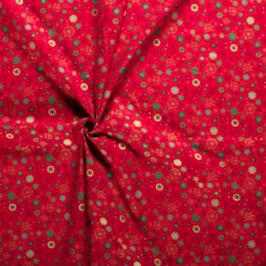 Kerststof katoen poplin print