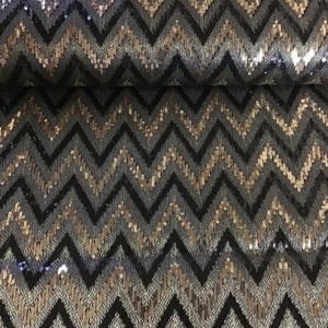 pailetten stof zigzag goudzwart