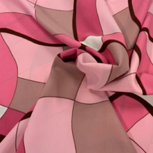 polyester roze ruit print