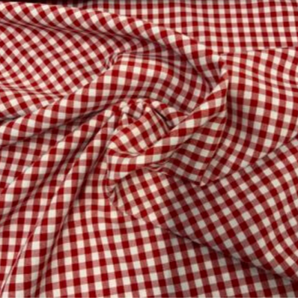 Rood wit ruitje polyester
