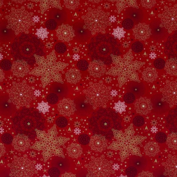 Kerststof poplin katoen sneeuwvlok