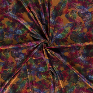 Jersey kleurig blad print