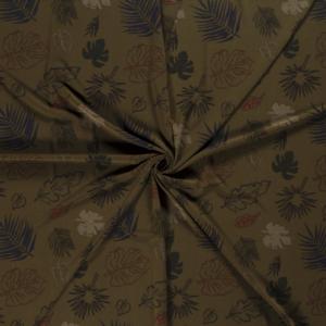 Crêpe stof bladeren print