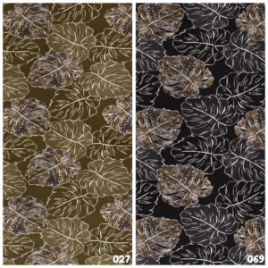 Crêpe stof bladeren dierenprint