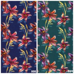 Tricot katoen bloem print