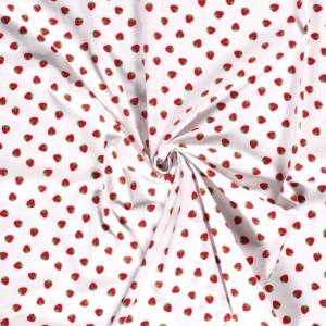 Poplin katoen aardbeien print