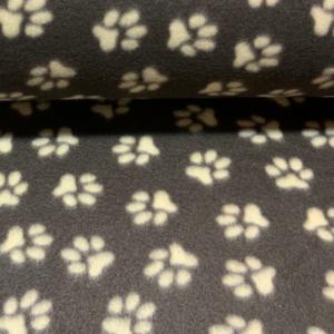 Fleece stof hondenpoot print