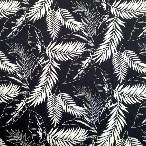 Katoen bladeren zwart wit