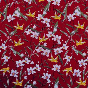 Katoen bloem bordeaux stof