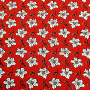 Katoen margriet rood stof