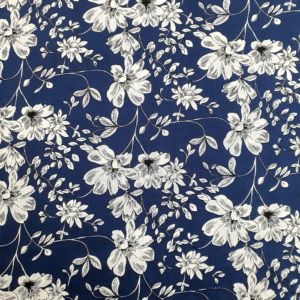 Katoen bloem donkerblauw wit