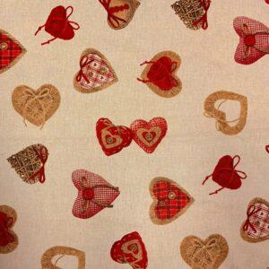 Decoratie stof rode harten