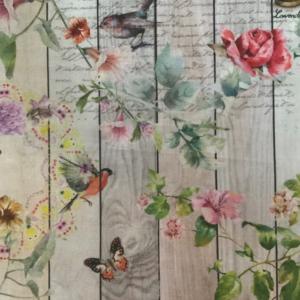 Decoratiestof bloemen streep tekst