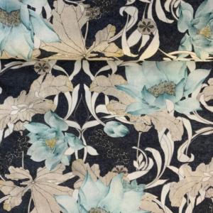 Decoratie stof lichtblauwe bloemen