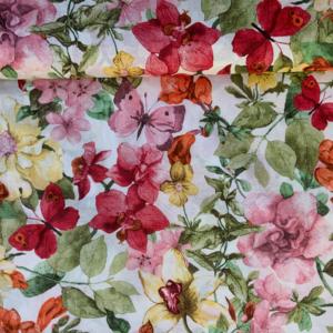 Decoratie stof sierlijke bloemen