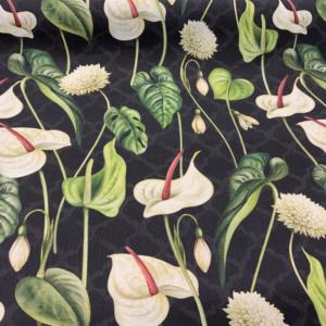 Decoratie stof aronskelk bladeren print