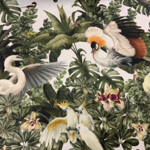 Decoratie stof vogels jungle print