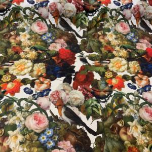 Decoratie stof bonte bloemen print