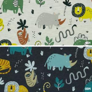 tricot katoen dierentuin print