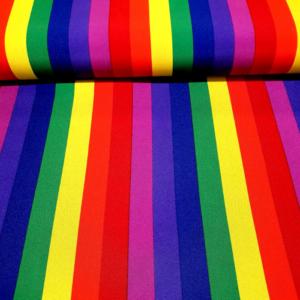 Carnaval stof regenboog print