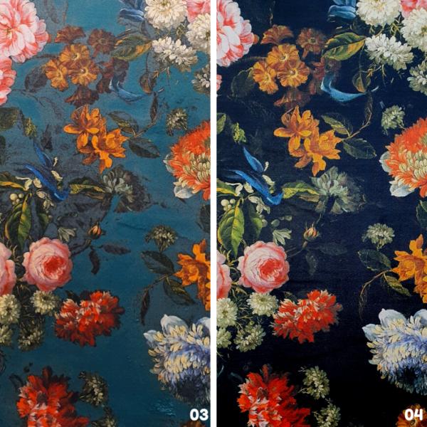 Digitale print velvet bloemen
