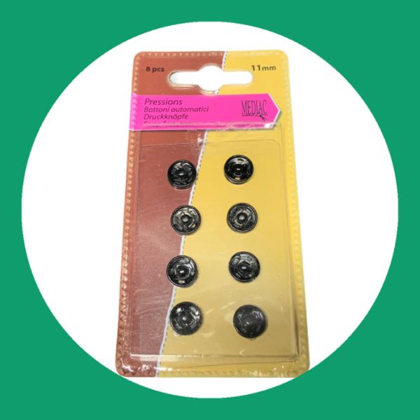 Drukknopen middel zwart