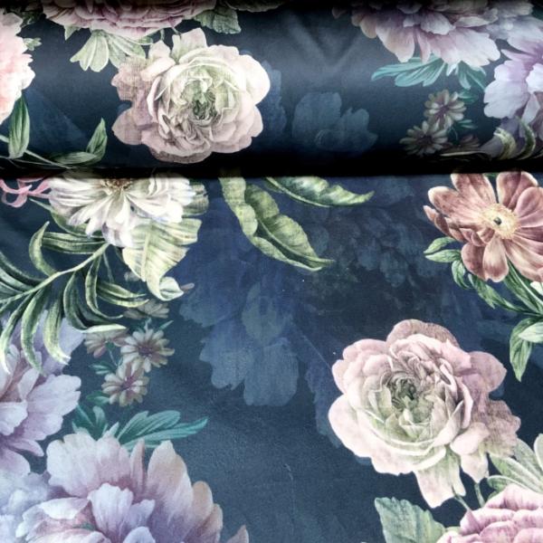 Digitale print velvet klassieke bloemen