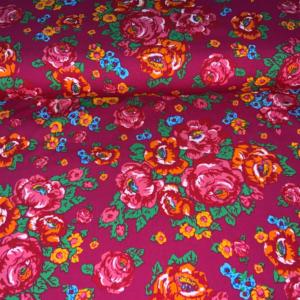 Katoen stof roze rozen