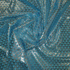 Carnaval stof druppel aqua zilver