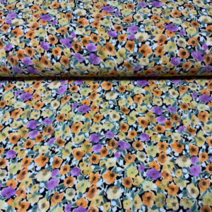 Viscose stof zonnige bloemen