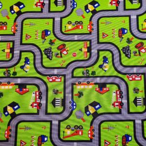 Decoratie kinderstof autoweg print