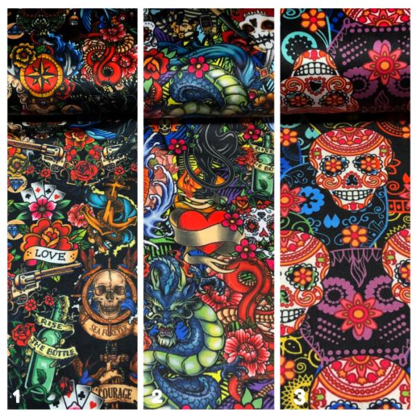 Decoratie stof velvet skull