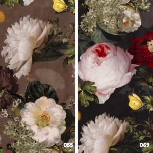 Digitale print bloemen velvet