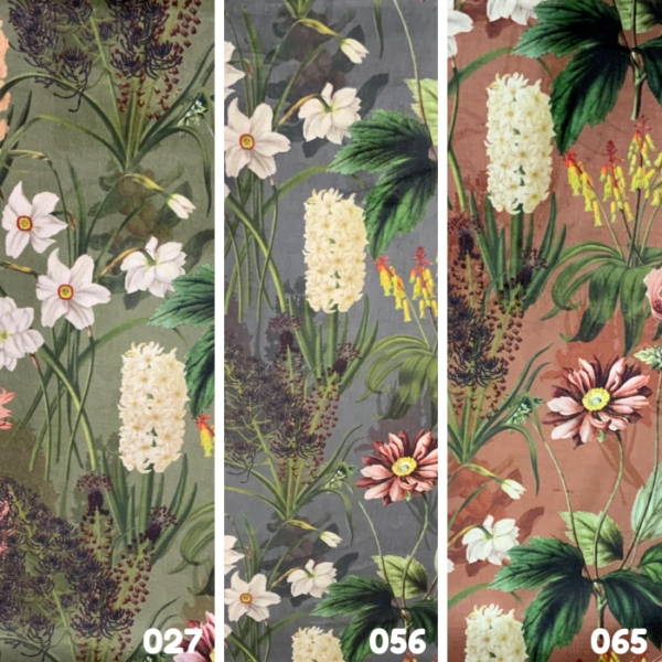 Velvet tropische bloemen stof
