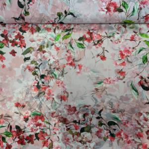 Chiffon roze bloesemtak stof